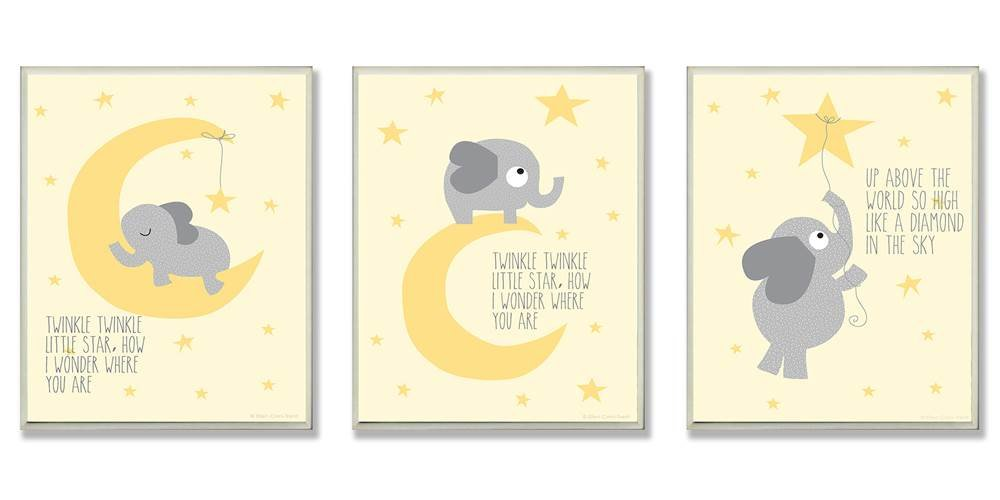 The Kids Room by Stupell Twinkle Twinkle Little Star Grey Elephant On Yellow 3-Pc. Rectangle Wall Plaque Set, 11 x 0.5 x 15, Proudly Made in USA by The Kids Room by Stupell