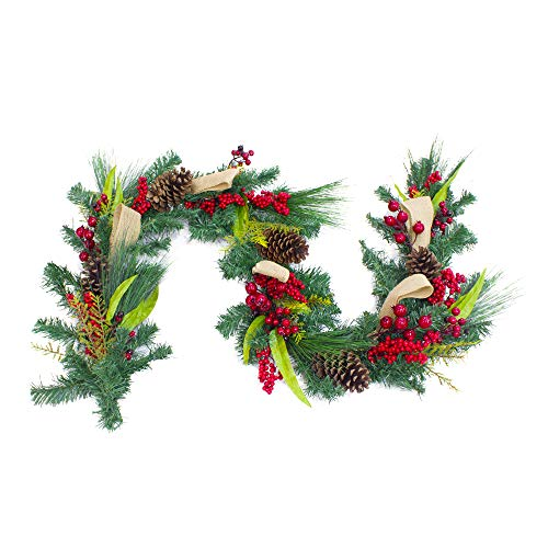 LUOOU Christmas Garland Artificial-Vine Mantle Décor - Pine Cones Mixed Decorations Berries Vines Artificial Hanging Plants Wedding Holiday Wall Decor Thanksgiving Fireplace Party Decoration lvy 6ft
