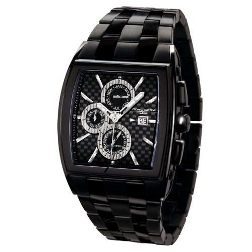 Jorg Gray JG6300-32 Rectangular Watch with Black Solid Stainless Steel with Butterfly Clasp