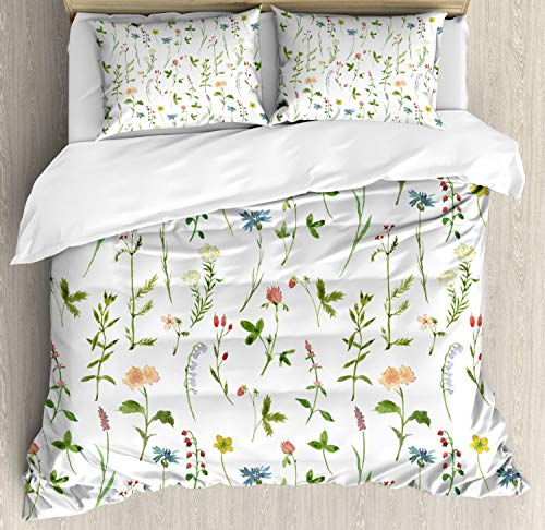 Ambesonne Floral Duvet Cover Set, Spring Season Themed Watercolor Painting of Herbs Flowers Botanical Garden Artwork Picture, A Decorative 3 Piece Bedding Set with Pillow Shams, Queen/Full, Multicolor from Ambesonne