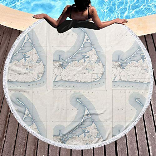 Round Beach Towel Indian Mandala Yoga Mat Tapestry- Island Vintage Map of Nantucket Beach Towels 59 Inch Diameter (Nantucket Bath Towel)