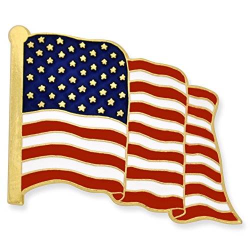 PinMart's Proudly Made in USA American Flag Jewelry Quality Gold Enamel Lapel - Gold Usa E