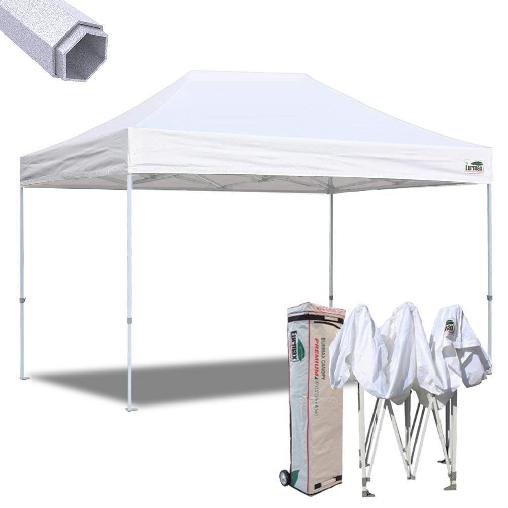 Eurmax 10x15 Ft Premium Ez Pop up Canopy Instant Canopies Shelter Outdoor Party Canopy Gazebo Commercial Grade with Roller Bag (White)