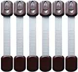 Baby Safety Locks | Child Proof Cabinets, Drawers, Appliances, Toilet Seat, Fridge and Oven | Tools Not Required | Uses 3M Adhesive with Adjustable Strap and Latch System (6-Pack Brown)
