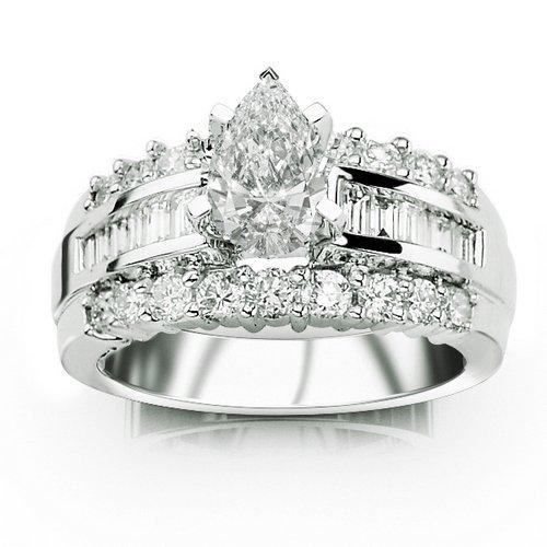 1.72 Carat Pear Cut / Shape 14K White Gold Channel Set Baguette and Prong Set Round Diamond Designer Engagement Ring ( E-F Color , SI2 Clarity )