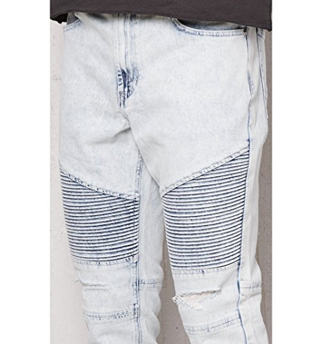 ddf5cbacb4e29 on sale Pacsun Mens Stacked Skinny Ripped Moto Light Wash Stretch Jeans