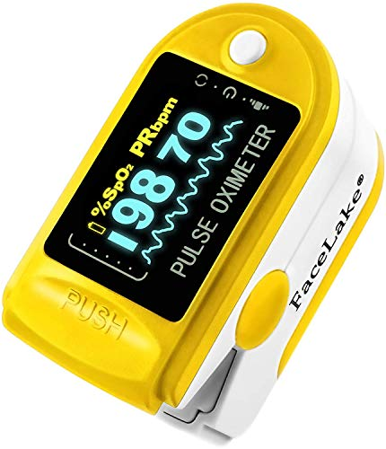 Facelake FL-350 Pulse Oximeter with Carrying Case Batteries Lanyard, Yellow