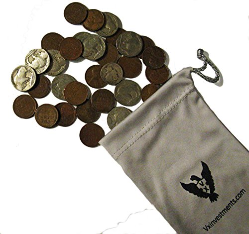 The American Classics Coin Bag by Vx Investments. 10 Dateless Buffalo Nickels, 20 Unsearched Wheat Pennies, and a Silver Mercury Dime All In a Custom Vx Investments Pouch