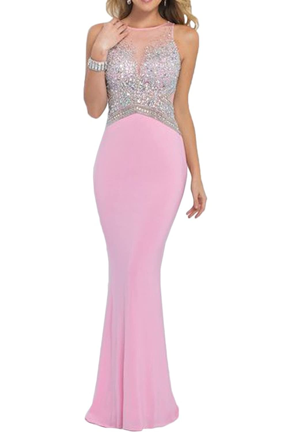 Gorgeous Bride Mermaid Scoop Rhinestones Prom Evening Wedding Guest Dresses