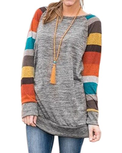 Sleeve Crewneck Long Raglan (Armear Womens Knitted Plain Crewneck Long Sleeve Raglan Sweatshirt Tunic Tops (M(US 8-10), Multicolors))