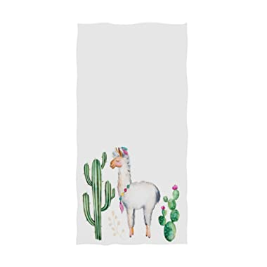 Naanle Chic Cute Llama Cactus Pattern Soft Absorbent Large Hand Towels Multipurpose for Bathroom, Hotel, Gym and Spa (16  x 30 ,White)