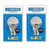 Oreva 3W-ECO Base B22 3-Watt LED Bulb (White) (pack of 2)