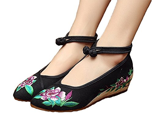 Lazutom Women Lady Vintage Chinese Style Embroidery Rubber Sole Cheongsam Shoes Black