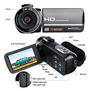 Digital Camcorders Full HD 1080P 30FPS 24MP Video Camera 16X Digital Zoom IR Night Vision Digital Camera with External Microphone and Wide Angle Lens