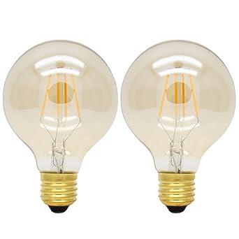 2X E27 Bombillas Edison Dimmable 4W Filamento LED Blanco Cálido 2200K G80 Bombilla Retro Vintage 400LM