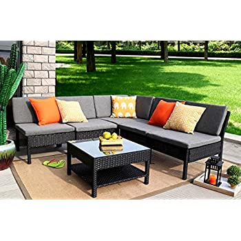 Good Baner Garden (K55) 6 Pieces Outdoor Furniture Complete Patio Wicker Rattan Garden  Corner Sofa