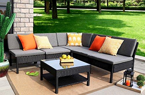 Baner Garden (K55) 6 Pieces Outdoor Furniture Complete Patio Wicker Rattan Garden Corner Sofa Couch Set, Full, Black (Corner Rattan Garden Furniture)