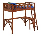 Night & Day Furniture GIN-LBH-TWN-COM-CUR-CH Ginger Loft with curvy desk, cherry finish, Twin