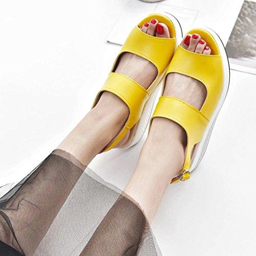 Medio Scarpe R Tacco Con Zeppa Gioiello giallo Estive Sandali Donna Beautyjourney donna Eleganti Elegant Estate Romane Infradito YRqfzE