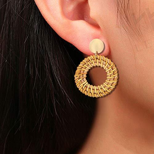 (Sinfu Women's Fashion Handmade Rattan Woven Drop Dangle Geometric Earrings - Cutout Round Pendant Earrings)