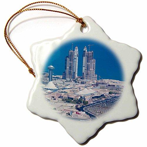 3dRose Danita Delimont - Cities - UAE, Abu Dhabi. Marina Village and Arabian Gulf, aerial view - 3 inch Snowflake Porcelain Ornament (orn_277130_1) by 3dRose