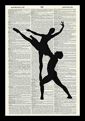 79 BiiUYY Ballet Dancers Silhouette Black & White Book Vintage Dictionary Art Print-Book Art Print-Wall Hanging-Artwork 14x11 inch (Silhouette Art Metal Wall Floral)