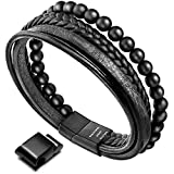 Murtoo Leather Bracelet Magnetic-Clasp Cowhide Braided Multi-Layer Wrap Mens Bracelet.