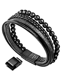 Murtoo Leather Bracelet Magnetic-Clasp Cowhide Braided Multi-Layer Wrap Mens Bracelet.