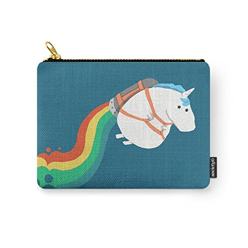 Society6 Fat Unicorn On Rainbow Jetpack Carry-All Pouch Smal