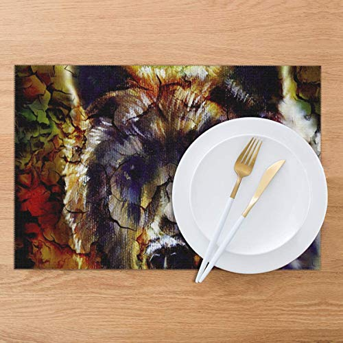 Ole Mighty Brown Bear Placemats Heat-Resistant Wear-Resistant Polyester Dining Table Table Mat 6 Piece Set 12x18 - Bear Ole