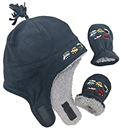 N'Ice Caps Little Boys and Baby Sherpa Lined Fleece Embroidered Hat Mitten Set