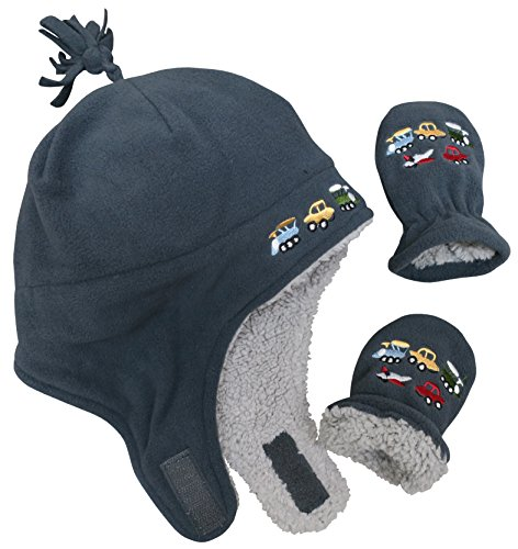 N'Ice Caps Boys Sherpa Lined Micro Fleece Embroidered Hat and Mitten Set (6-18 months, Charcoal Infant) (Ch Plane)