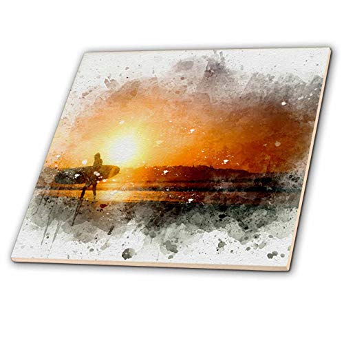 3dRose Anne Marie Baugh - Impressionist Mixed Media Art - Image Of Watercolor Bright Orange Beach Sunset With Surfer Art - 6 Inch Glass Tile (ct_318648_6)