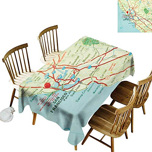W Machine Sky Wrinkle Resistant Tablecloth Map Vintage Map of San Francisco Bay Area with Red Pin City Travel Location W54 xL90 for Family Dinners,Parties,Everyday Use