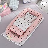 Ukeler Portable Baby Travel Bed with Bbay Quilt, Breathable & Hypoallergenic Co-Sleeping Baby Bed - 100% Cotton Portable Crib for Bedroom/Travel
