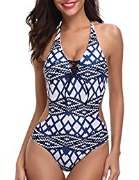 Women 1 Piece Plunge V Neck Halter Strappy Sexy Backless Geometric Pattern Monokini Swimsuits