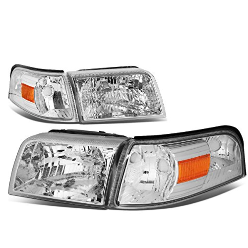 For Mercury Grand Marquis 4th Gen Pair of Chrome Housing Amber Corner Headlight + Corner (Mercury Grand Marquis Headlamp Assembly)