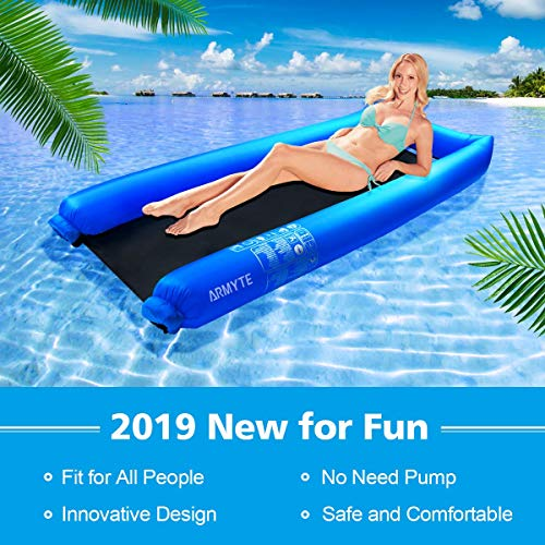 "Inflatable Pool Floats Lounger, Floating Swimming Pool Hammock, 2019 Upgraded Float Chair for Adult Kid Pool Toys, No Pump Needed- Protable (11""x4""x2"") After Stored in Pouch with Carry Bag, Blue"