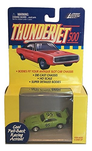 Johnny Lightning ThunderJets 500 Pullback Slot Car Green 95 DODGE DAYTONA
