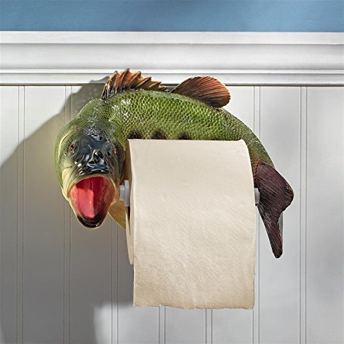 Design Toscano Reeling Trout Bathroom Toilet Paper Holder, Multicolor