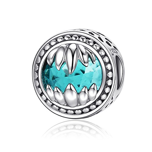 XingYue Jewelry S925 Sterling Silver Boat Anchor Bead Charm,Nautical Anchor Crystal Charm Bead fit Women Charms Bracelets (Blue Birthstone Bead Charm) ()