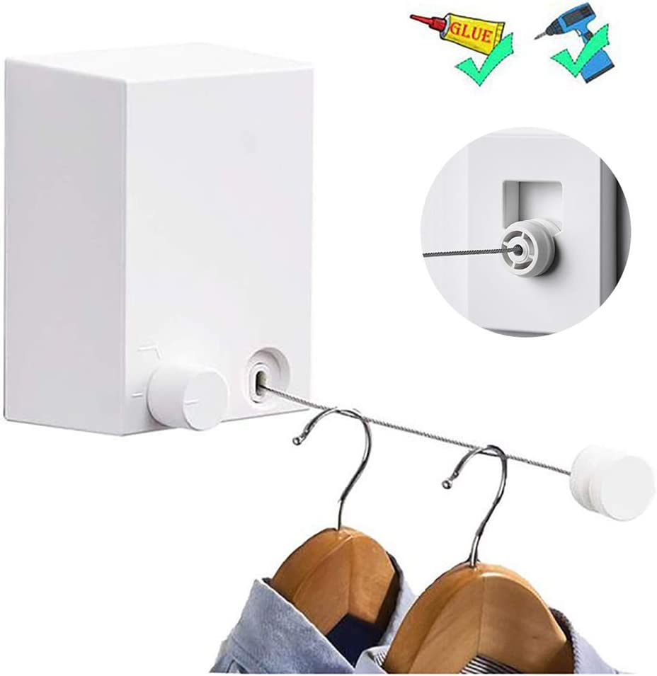 Retractable Clothesline Adjustable 13.8 Feets Stainless Steel Rope, Drill-Free & Wall Mounted Method Heavy Duty Clothes Dryer with Glue and Screws Suitable for Indoor/Outdoor (White)