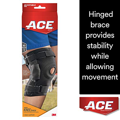 - ACE Hinged Knee Brace, One Size Fits Most, Left or Right Knee, Adjustable, Firm, Stabilizing Compression to Weak, Sore Muscles and Joints
