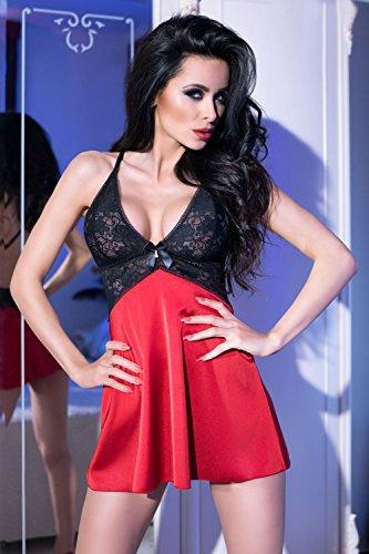Chilirose - Salto de cama - para mujer rojo y negro