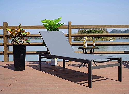 Kozyard Modern Full Flat Alumium Patio Reclinging Adustable Chaise Lounge with Sunbathing Textilence for All Weather, 5 Adjustable Position, Very Light, Anti-Rusty