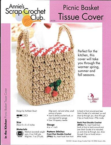 Picnic Basket Tissue Box Cover - One Crochet Pattern - Annie's Scrap Crochet Club - SCC02