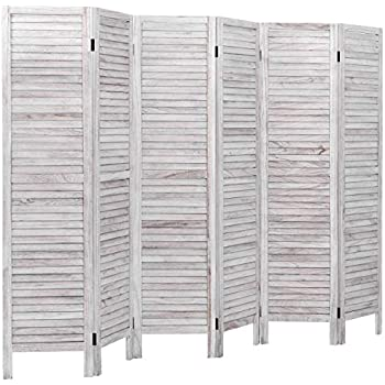 Giantex 6 Panel Wood Room Divider, 5.6 Ft Tall Oriental Folding Freestanding Partition Privicy Room Dividers Screen for Home, Office, Restaurant, Bedroom (White)