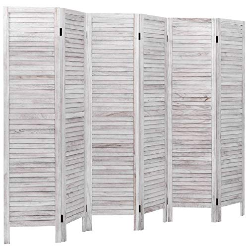 Giantex 6 Panel Wood Room Divider, 5.6 Ft Tall Oriental Folding Freestanding Partition Privicy Room Dividers Screen for Home, Office, Restaurant, Bedroom (White) (Oriental Screen Dividers)
