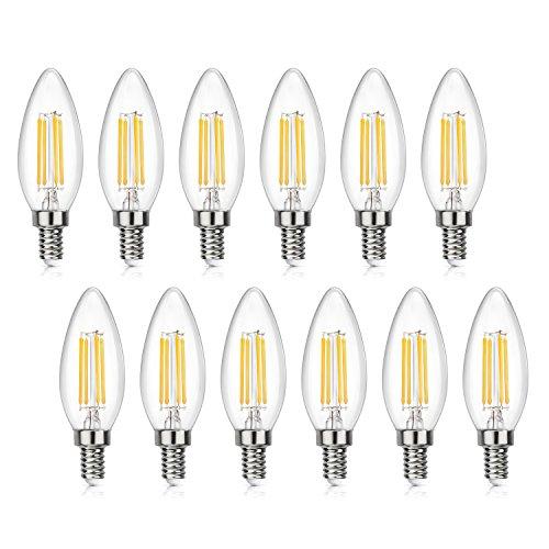 - SHINE HAI Candelabra LED Filament Bulbs 40W Equivalent, 3000K Chandelier B11 LED Bulb E12 Base Decorative Candle Light Bulb, Pack of 12