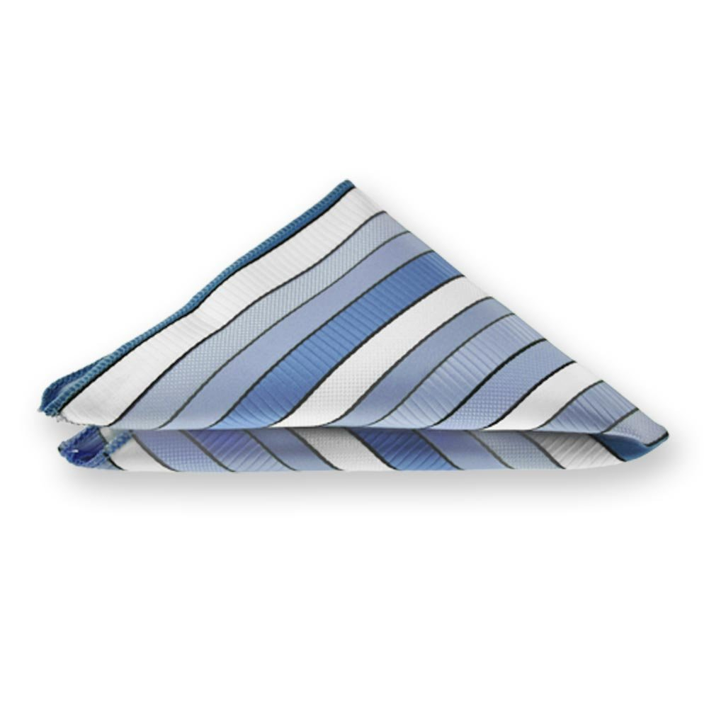 TieMart Wave Blue Douglas Stripe Pocket Square